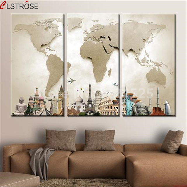 World map room decor sevenstonesinc clstrose hot 3 pieces modular pictures for home abstract wall gumiabroncs Gallery