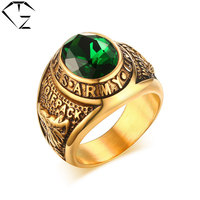 316L Stainless Steel Wolf Ring New Fashion Simple Green Cubic Zircon Wedding Rings For Women Men