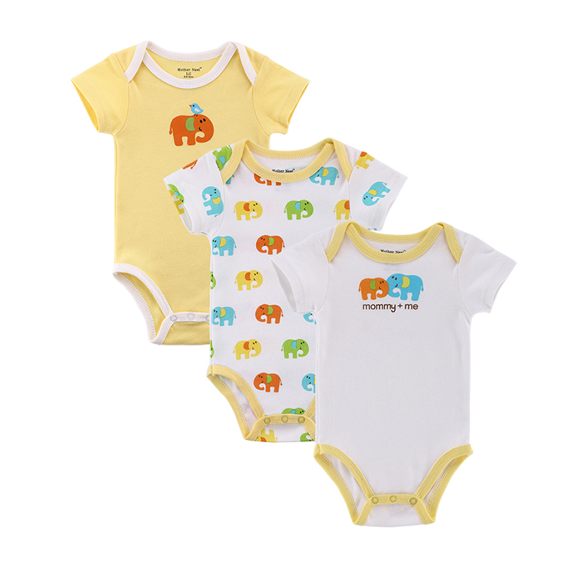 Mother nest 3pcslot Baby Boy Girl Clothes Short Sleeve Leopard Print 2017 Summer Baby Romper Newborn Next Jumpsuits & Rompers (2)