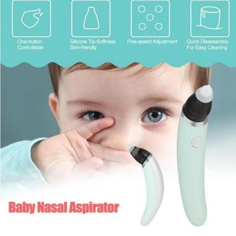 Купить с кэшбэком Baby Nasal Aspirator Electric Safe Hygienic Nose Cleaner With 2 Sizes Of Nose Tips And Oral Snot Sucker For Newborns Boy Girls