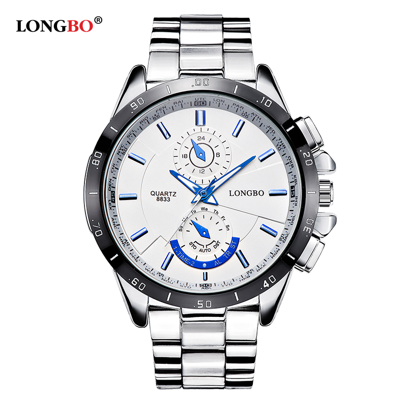2017 Famous brand LONGBO business men watches luminous full steel quartz watch men waterproof 30m male clock relogio masculino