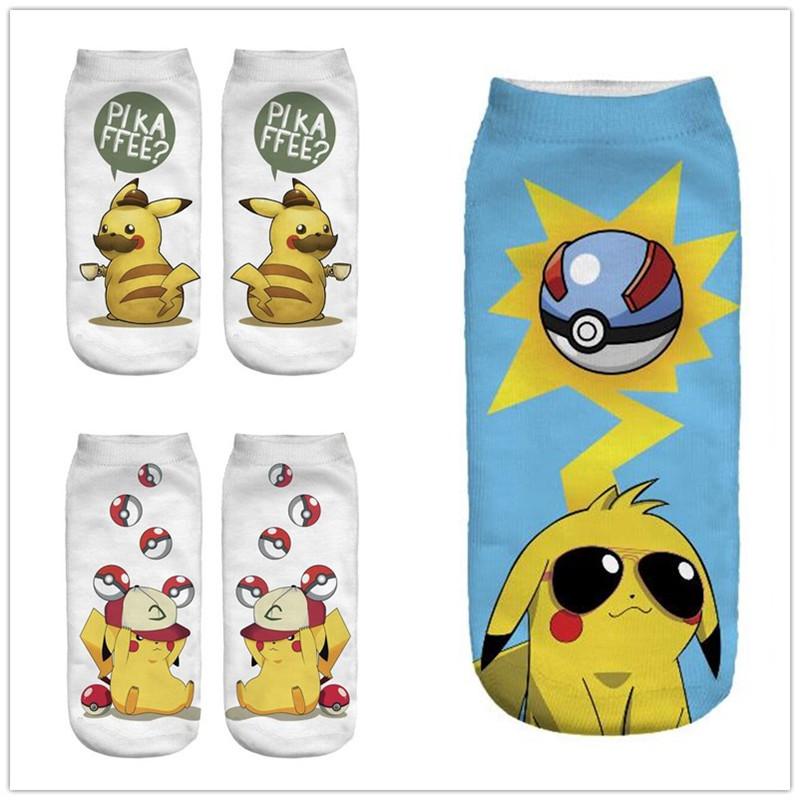 1 paire mignon pokemon 3d imprim femme chaussettes loisirs chaussettes pikachu low cut cheville cadeau