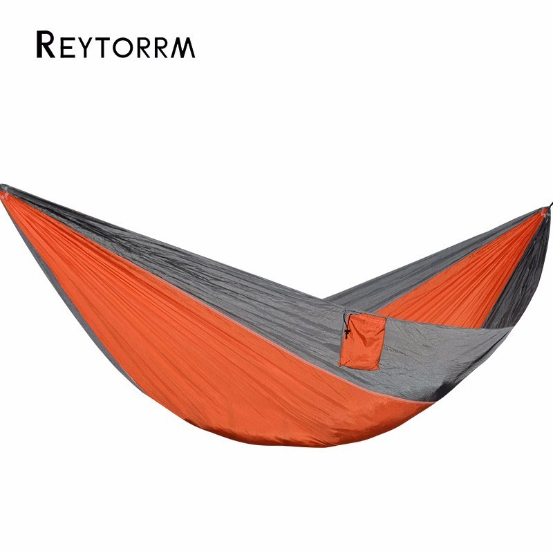 Outdoor Camping Nylon Hammock Hanging For 1 2 Person Relax Leisure Swing Hamak Can Hold 200kg Durable Orange Hamac-in Hammocks from Furniture