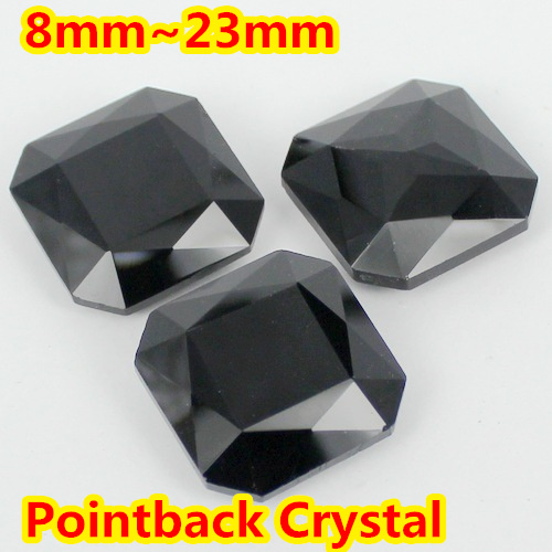 Jet Black Color Classical Fat <font><b>Square</b></font> Shape Pointback glass Crystal Fancy Stone For Jewelry Making 8mm,10mm,12mm,14mm,18mm,23mm