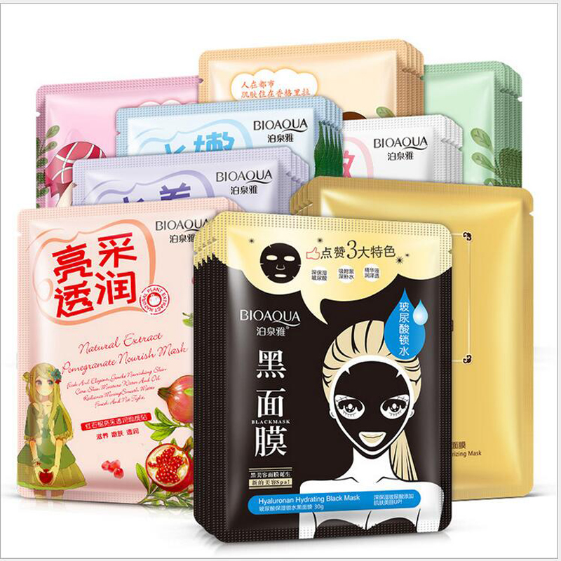 BIOAQUA 18Pcs Face Mask Silk Prot Facial Mask Skin Care Deep Moisturizing Oil Control Essence Korean Cosmetic Sheet Mask
