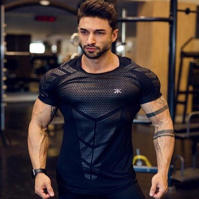 Быстросохнущие Компрессионные Мужские футболки с коротким рукавом, футболка для бега, фитнес-плотно Теннисный футбол, Джерси, спортивная одежда Demix