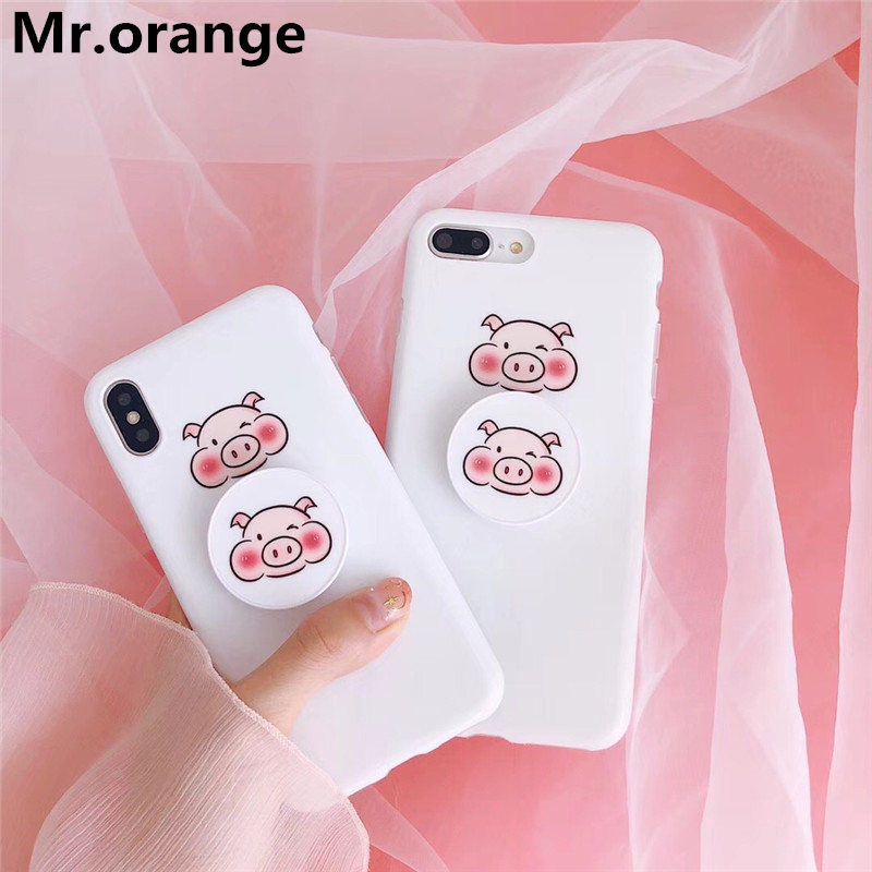LOVELY Pig Head phone cases For iphone X 6 6s 6plus IMD luxury bracket For iphone 7 7plus 8plus Nordic pink protective cover