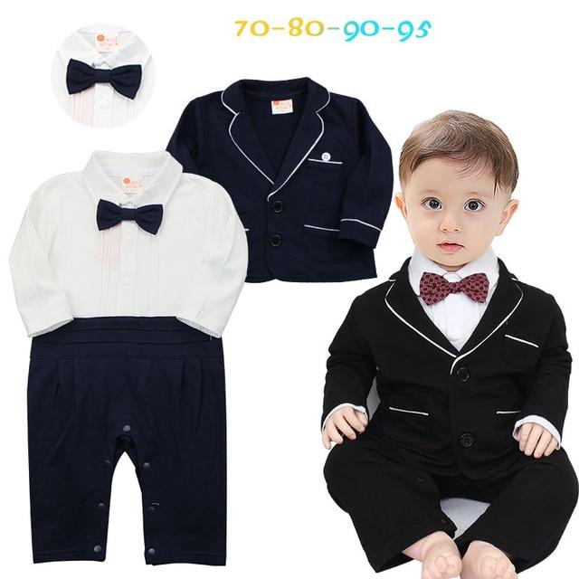 089ab6698ee4 Baby Boy Newborn Rompers Clothes Kid s Infant Baby Tuxedo Suit Clothing  Sets Gentleman Roupa Jumpsuits de