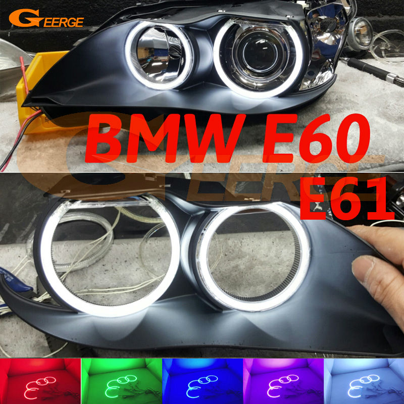 For BMW E60 E61 525I 530I 540I 545I 550I M5 2003-2007 Xenon Headlight Excellent Multi-Color Ultra bright RGB LED Angel Eyes kit car bumper grill kit with led fog lights drl angel eyes wires for bmw e60 e61 5 series 525i 530i 545i 550i xi 2004 2007 pdk618