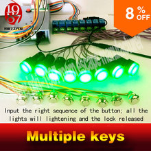 2016 new Multiple keys real life room escape prop tools press button in sequence turn on the light and run awayfrom chamber room