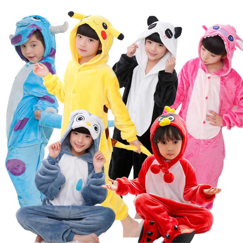 00a12ee06a Flannel Children Pajamas For Boys Girls Animal Stitch Unicorn Panda Pajamas  Set Hooded Costume Cosplay Kids