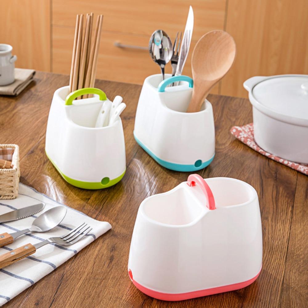 1Pc Plastic Chopsticks Cage Draining Cutlery Storage Rack Dinnerware Spoon Organizer Box Home Storage Tools Clearance Sale