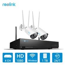 Reolink 1080 P Комплект Wi-Fi Камеры 4ch 2MP Wi-Fi NVR и 2 Полной hd Беспроводной Камеры для Домашнего Наблюдения 1 ТБ HDD RLK4-210WB2