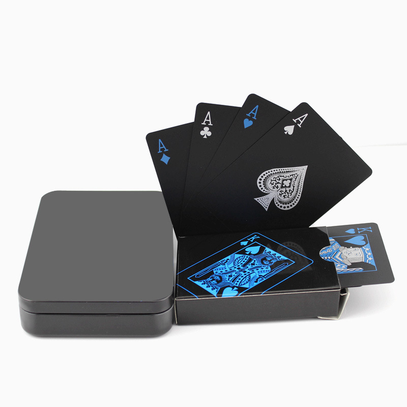 Naipes de plástico negro impermeable colección de naipes cartas de póquer de Diamante Negro regalo creativo estándar naipes ATUCOHO Store, nuevo organizador de cocina portátil, estantes de almacenamiento para el hogar, caja de almacenamiento de plástico, colgador de pared, bolsas de basura para baño, estantes