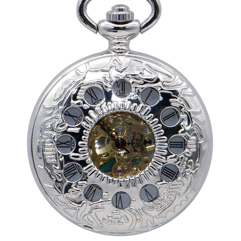 Fashion Silver 12 Hole Black Analog Roman Numeral Display Pocket Watch Mechanical Hand Wind  Fob Watches Mens Gift With Box