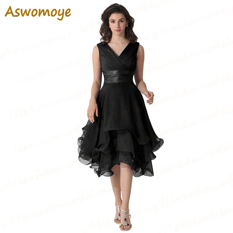 ASWOMOYE Short Bridesmaid Dresses Chiffon 2018 New Design Elegant Wedding Party Dress Formal Prom Dressesrobe De Soiree