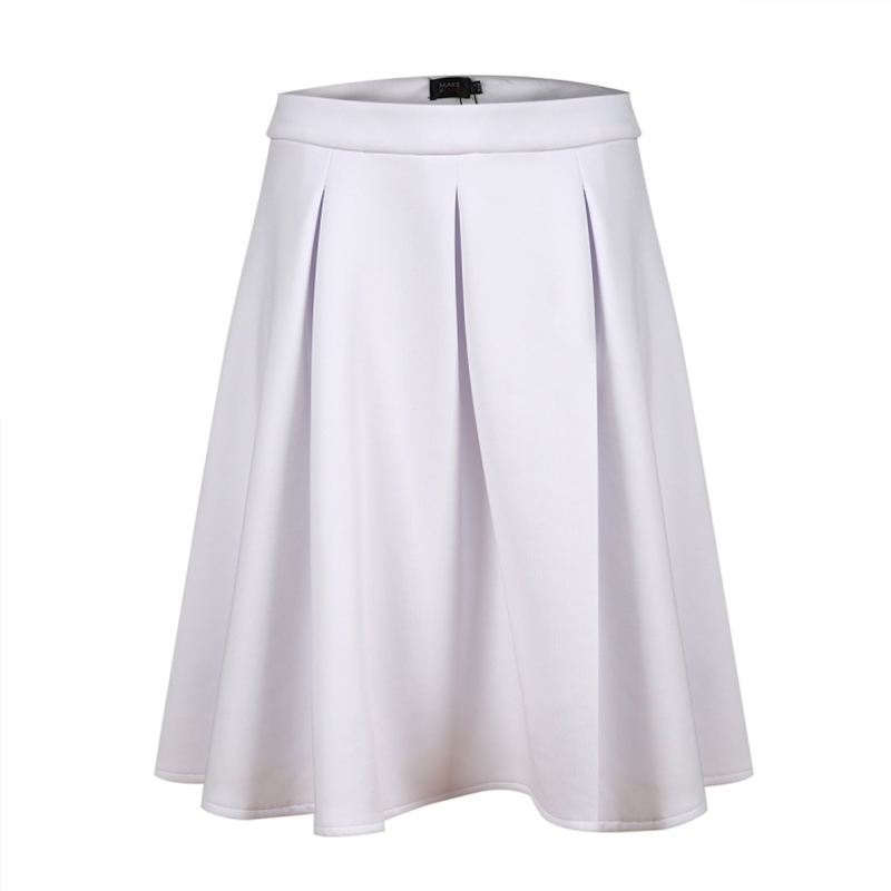 HDY Haoduoyi Brand Women White Casual Skirts Premium Prom Skirt In Bonded Crepe Elegant Sweet Skirts Female Zipper Buttoms Lady