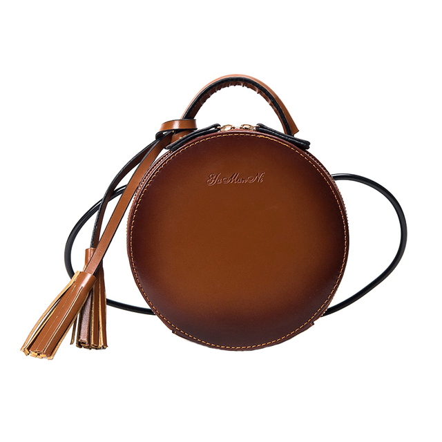 c33877910a9b New Arrival Brand Designer Women Leather Tassel Mini Round Handbags Korean  Style Shoulder Bags Crossbody Bags bolsa redonda
