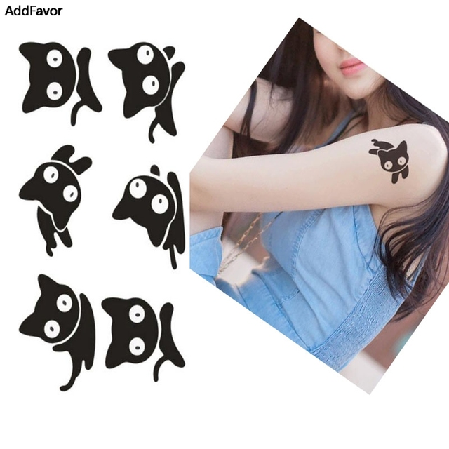 Addfavor 5pcs custom black cat women body art waterproof temporary tattoos sticker animal fake tattoo paper