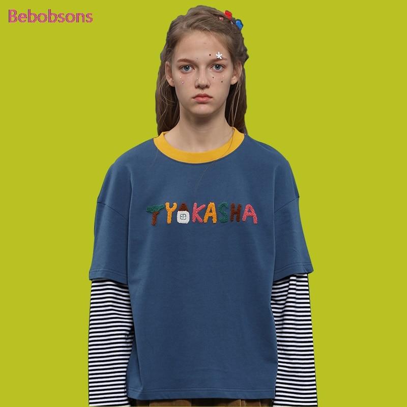 2017 New Women Autumn T Shirt Long Sleeve Cotton O Neck Fake Two Pcs Ladies Tee