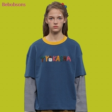 2017 New Women Autumn T Shirt Long Sleeve Cotton O Neck Fake Two Pcs Ladies Tee Shirt Letters Patchwork Female T-shirts Casual