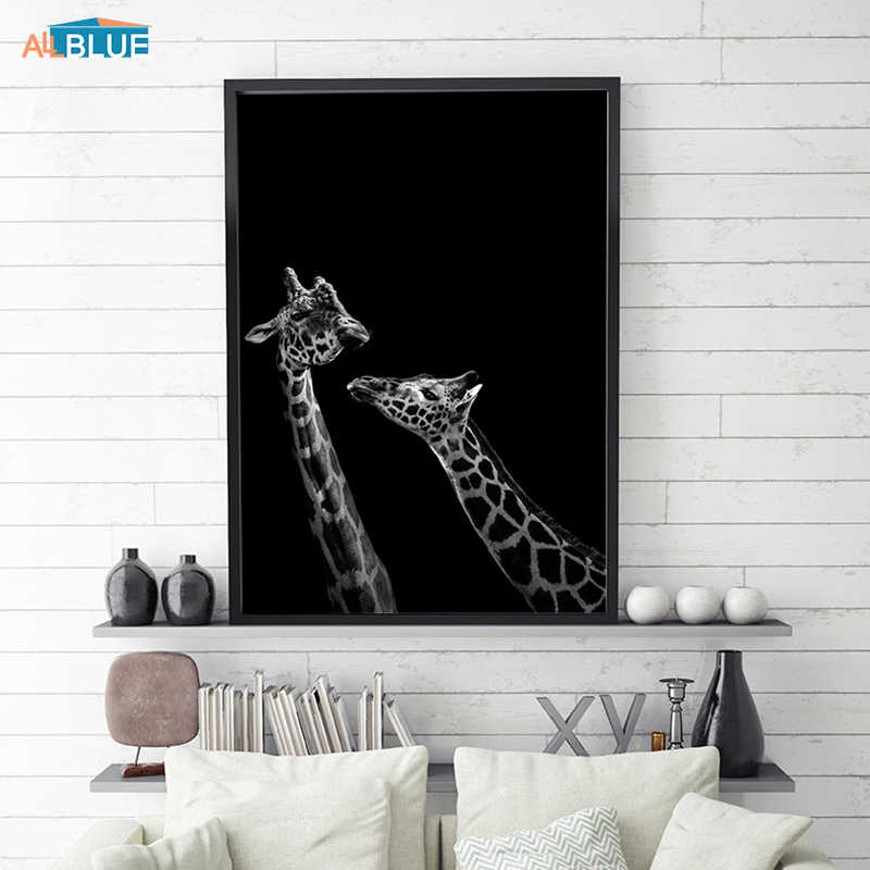 Black And White Animal Poster Nordic Wall Art Canvas Prints Giraffe Paintings For Living Room Wall Decorative Pictures Abstract