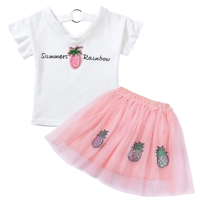 New Fashion Girls Clothing Kids Clothes Summer Style tops + pants 2 pcs Casual children suit 2 3 4 5 6 7 years fashion girls new suit tops and pants 2 sets flare sleeve lotus leaf pattern o neck lace bass pants street style girl clothes