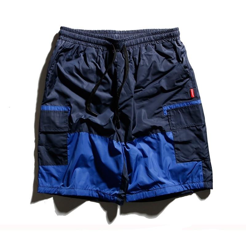 Hip Hop Shorts Men Patchwork Bermuda Cargo Short Sportpant 2018 Streetwear Drawstring Multi Pocket Short Sweatpants Men Clothes