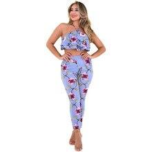 Летний стиль комплект из 2 частей Для женщин с цветочным принтом Топ и Брюки для девочек комплект Sexy Раффлед пляжная одежда набор ансамбль Femme