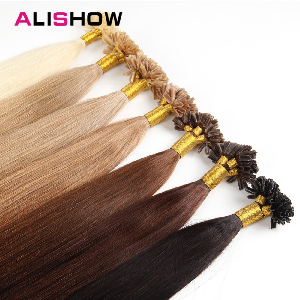 Alishow 50g  Remy Human Hair Nail U Tip Hair Extensions Straight Pre Bonded Hair On Keratin Capsules #2 Dark Brown 1g/Strand