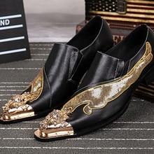 Christia Bella Marke Männer Schuhe Mode Gold Spitz Kleid Schuhe Stickerei Echtem Leder Bankett Partei Schuhe Männer Müßiggänger