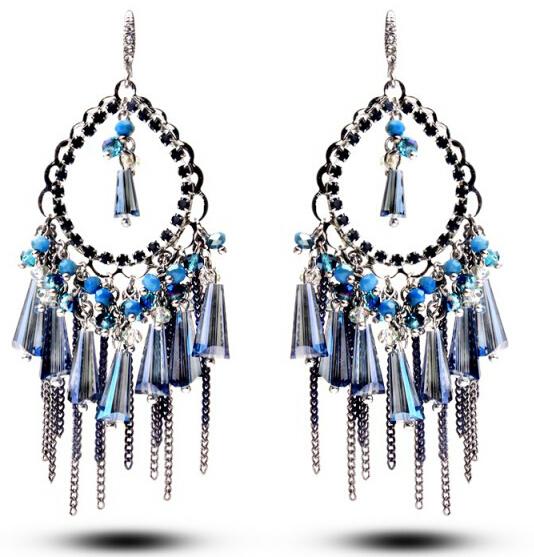 Tianshe handemade do tipo de luxo cristal austríaco bohemiacrystal oscila brincos longos borlas para as mulheres, 010
