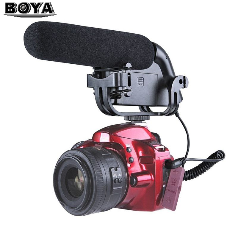 BOYA BY-VM190P BY VM190PStereo Video DSLR Camera DV Audio Recorder Shotgun for Canon Nikon Sony DSLR Cameras Camcorder Microfone boya by wm5 lavalier clip on mic audio studio recorder wireless microphone microfone for canon sony gopro dslr camera camcorder
