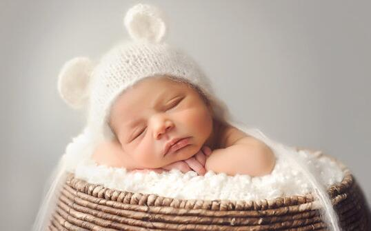 Newborn handmade knit soft mohair bonnet ear bear white color newborn hat baby photography props - CM Seedings Jewelry store