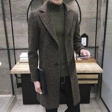 Мужчины Тонкий Большой Размер Полушерстяные Peacoats Осень Шерстяные Зимой теплая Куртка Кашемир Твид Вниз Пальто Мода Длинные Пальто 4Xl 5XL