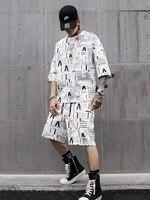 Men Black White Short Sleeve T shirt Sets (t Shirt+shorts) Fashion Casual Male Streetwear Hip Hop Loose Tee Shirts Suits