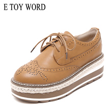 E TOY WORD Flat Platform Shoes autumn 2019 new Retro British Bullock women shoes leather thick bottom increased single shoes