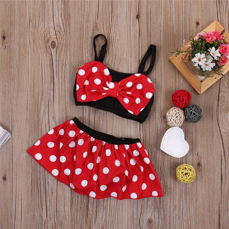 2019 летний детский купальный костюм с красным бантом для маленьких девочек, купальный костюм в горошек, комплект бикини, танкини, купальник 13