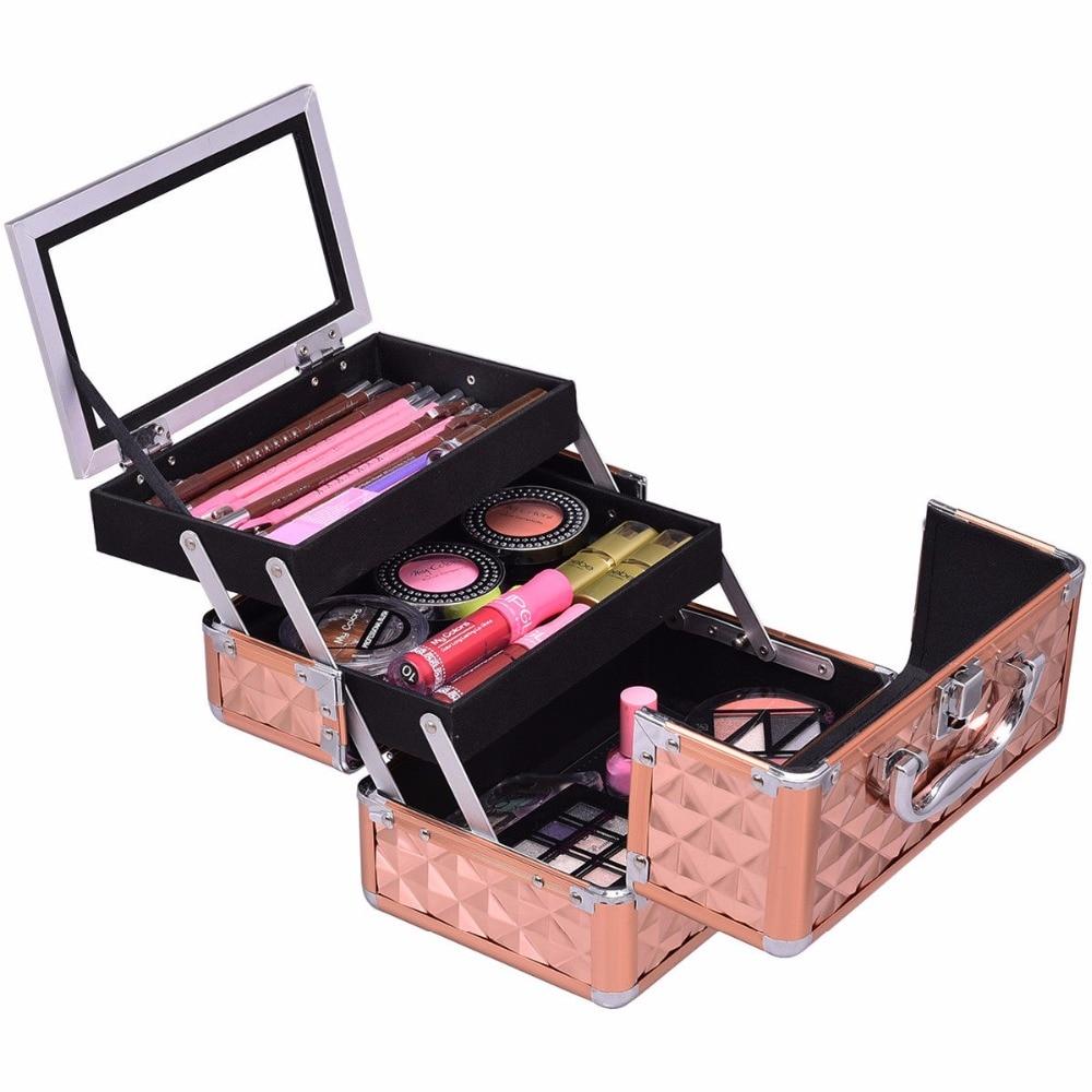 Goplus Mini Beauty Cosmetic Makeup Case Boxes Organizer With Mirror Portable Female Fashion Extendable Trays Makeup Box HB85040 black professional makeup cosmetic storage train case box trays aluminum organizer artist hiker draws