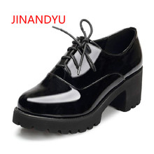 New Spring Autumn Thick High Heeled Pumps Woman Round Toe Lace up shoes Female Platform Shoes Casual women Office Lady shoes