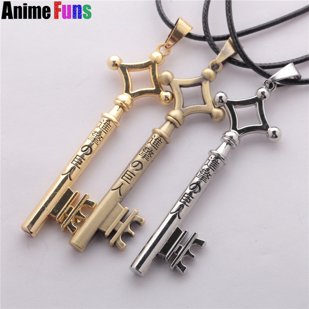 3 Colors Attack On Titan Eren Key Necklace Metal Pendant Charm Cosplay Jewelry Toy Anime Figure Shingeki No Kyojin Gift