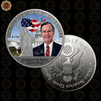 WR New Festival Gift Colored The George H. W. Bush Coin Silver Plated The 41th America President Art Craft /w Free Case 40x3mm