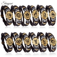 12PCS Punk 12 Zodiac Signs Leather Bracelet Multilayer 12 Constellations Bracelets Men Alloy Vintage Snap Button