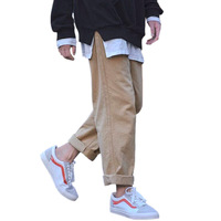 Plus Size S 5XL Loose BF Harajuku Wide Leg Pants Men Trousers Korean Fashion Straight Pants For Man Black Khaki Pants 2019
