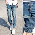 Men Casual Jeans Active Pant Classic Mens Joggers Light Blue Biker Denim Pants Male Elastic Waist Drawstring Trend Slim Fit