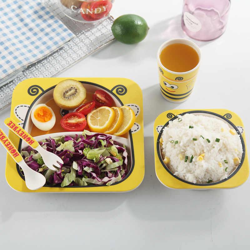 5 ชิ้น/เซ็ตการ์ตูนน่ารักเด็กชุดไม้ไผ่หนาแผ่นอาหารเย็นจานสำหรับเด็กชุดอาหารเด็กชุดอาหาร Placemat ชาม
