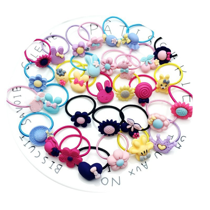 10PCS New Frosted Elastic Rubber Hair Bands Girls Floral Ponytail Holders Headband Cartoon Mixing Scrunchies Elastic Hair Rings