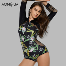 AONIHUA Design Mesh Hollow Swimsuits for Women 2018 new tranquil Print One Piece Swimwear Push up Long sleeve swimming Suit 9022