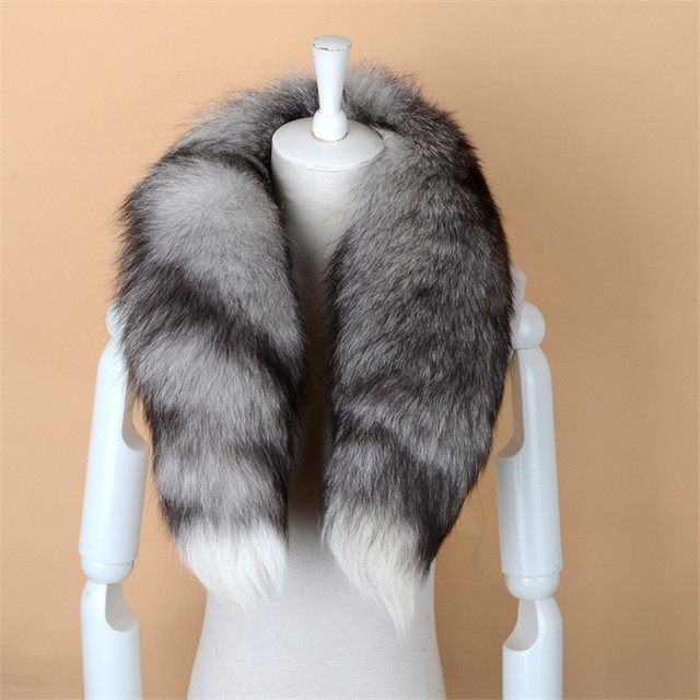 NGSG Real Fox Fur Scarf Women Men Striped Winter Warm 80-90CM Long Tail Scarf Fashion Luxury Collar Scarves Wraps Female W001