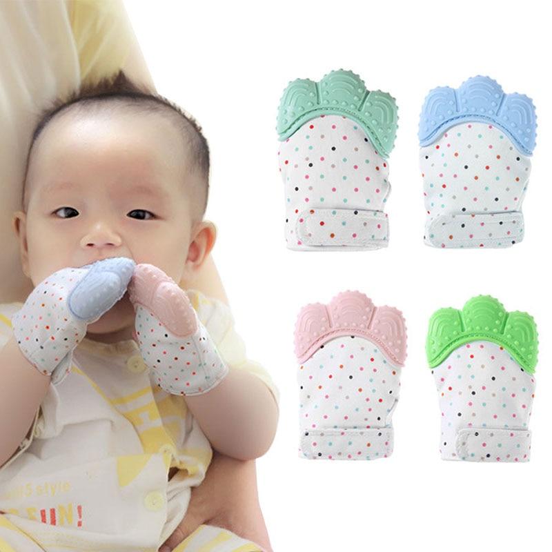 Baby Silicone Teething Beads Natural Thumb Sound Teether Glove - Kūdikio priežiūra